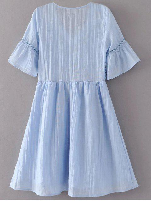 best Flare Sleeve Lace Panel A-Line Dress - LIGHT BLUE L Mobile