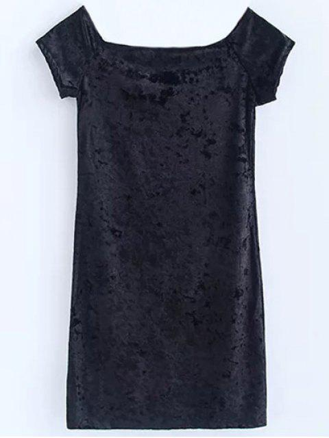 lady Casual Off The Shoulder Velvet Mini Dress - BLACK S Mobile