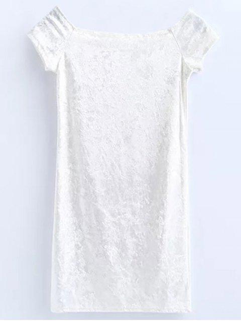 Mini robe en velours sans épaule - Blanc M Mobile