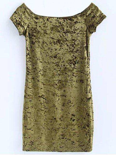 new Casual Off The Shoulder Velvet Mini Dress - GREEN M Mobile