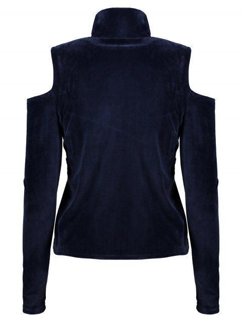 buy High Neck Cold Shoulder Velour T-Shirt - PURPLISH BLUE M Mobile