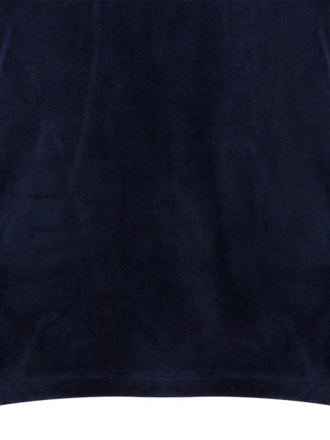 womens High Neck Cold Shoulder Velour T-Shirt - PURPLISH BLUE S Mobile