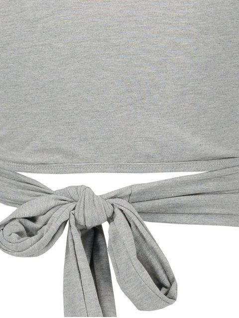 chic Long Sleeve Wrap Front Criss Cross Crop Top - GRAY L Mobile