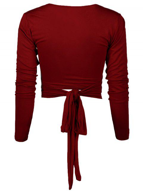 ladies Long Sleeve Wrap Front Criss Cross Crop Top - BURGUNDY M Mobile