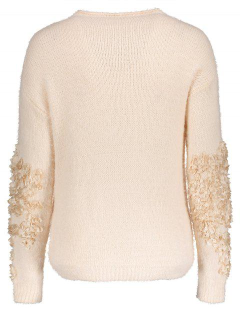outfit Floral Applique Pullover Sweater - APRICOT ONE SIZE Mobile