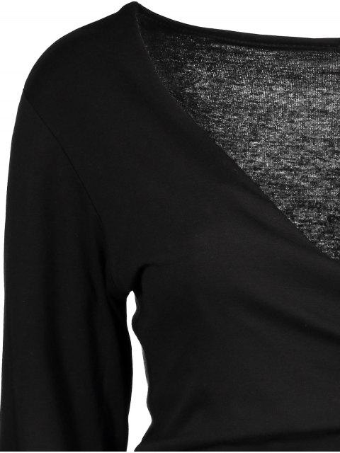 womens Long Sleeve Wrap Front Criss Cross Crop Top - BLACK S Mobile