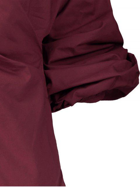 women Wrap Front Puffed Sleeve Blouse - WINE RED S Mobile