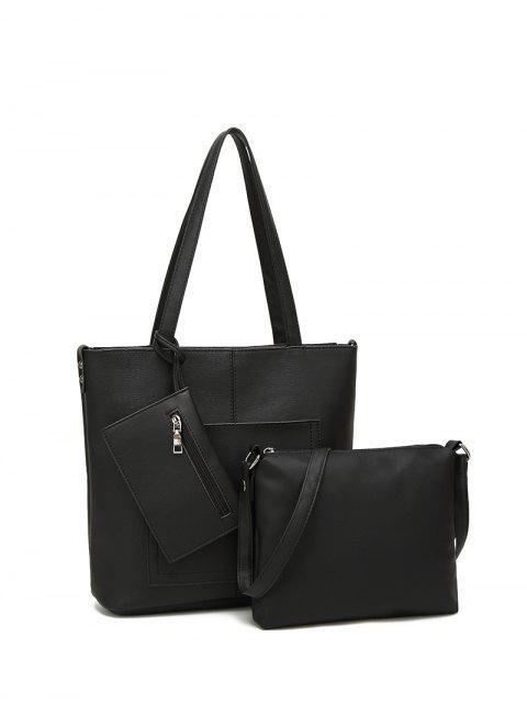 Kunstleder 3PCS Tote Bag Set - Schwarz  Mobile