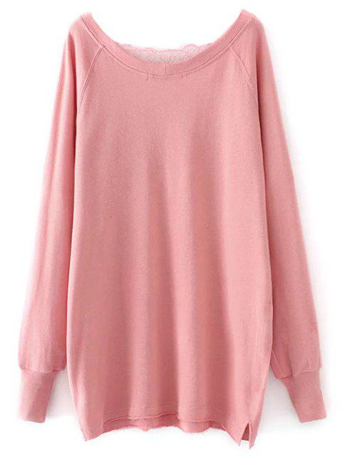 new Eyelash Lace Long Pullover Sweatshirt - PINK M Mobile