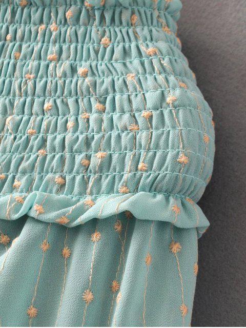 hot Off Shoulder Smocked Drawstring Embroidered Dress - LIGHT GREEN S Mobile