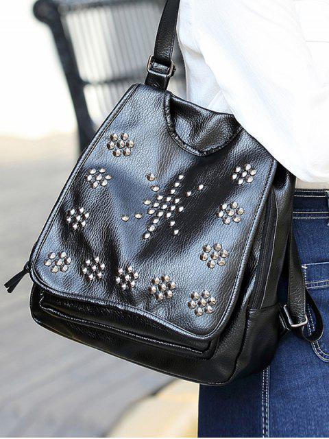 trendy Flapped Rivet Backpack - BLACK  Mobile