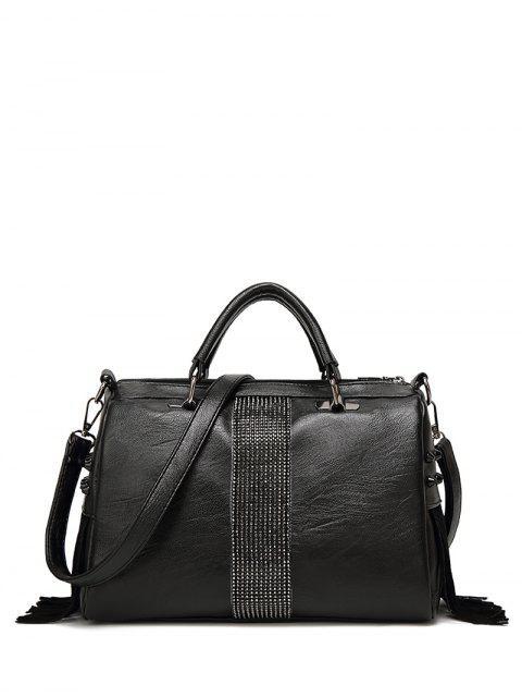 online Faux Leather Fringed Rivet Handbag - BLACK  Mobile