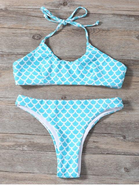 affordable Fish Scale Print Mermaid Bikini - TURQUOISE L Mobile