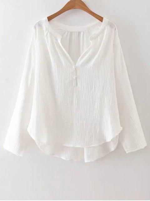womens High-Low Blouse - WHITE S Mobile