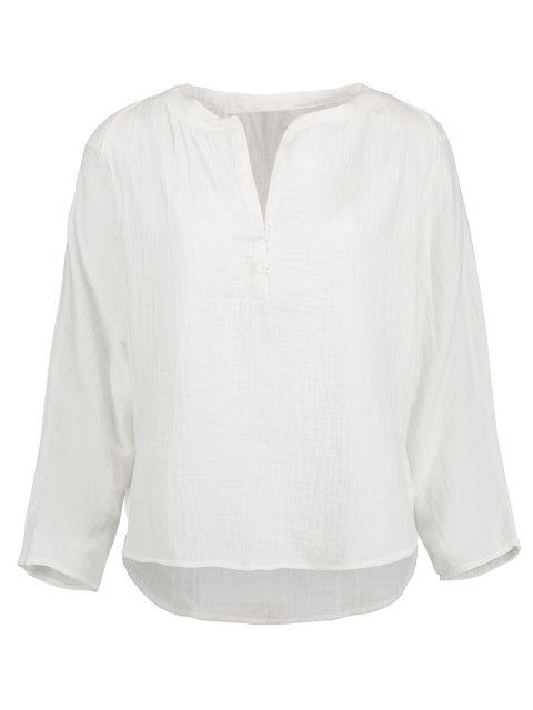 affordable High-Low Blouse - WHITE L Mobile