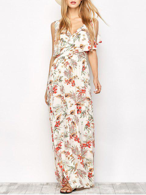 outfits Side Slit Maxi Floral Dress - FLORAL L Mobile