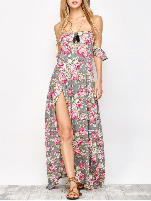womens Maxi Off The Shoulder Floral Dress - FLORAL L Mobile