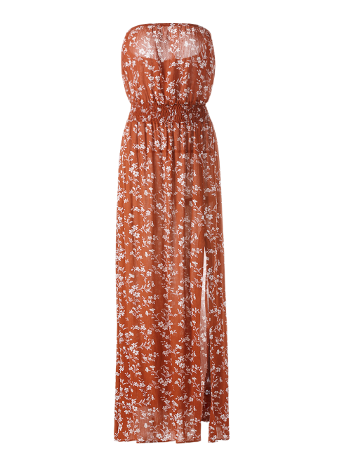 new Tiny Floral Maxi Bandeau Dress - ORANGE RED M Mobile