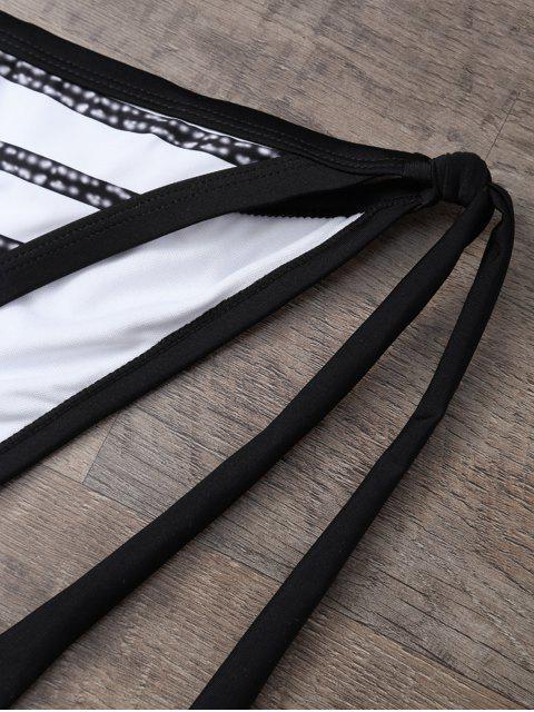 chic Halter Striped Tie Side Bikini - WHITE AND BLACK L Mobile