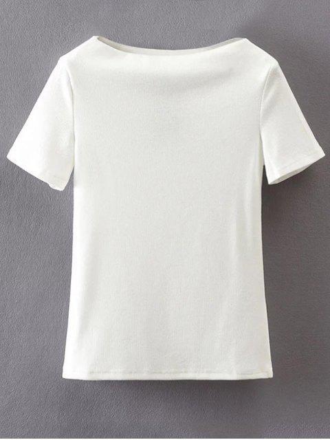 T-Shirt en coton à manches courtes à encolure bateau - Blanc S Mobile