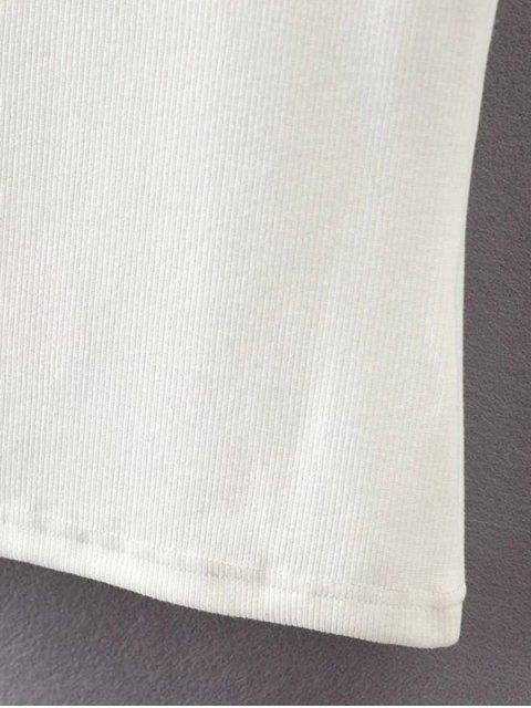 T-Shirt en coton à manches courtes à encolure bateau - Blanc L Mobile
