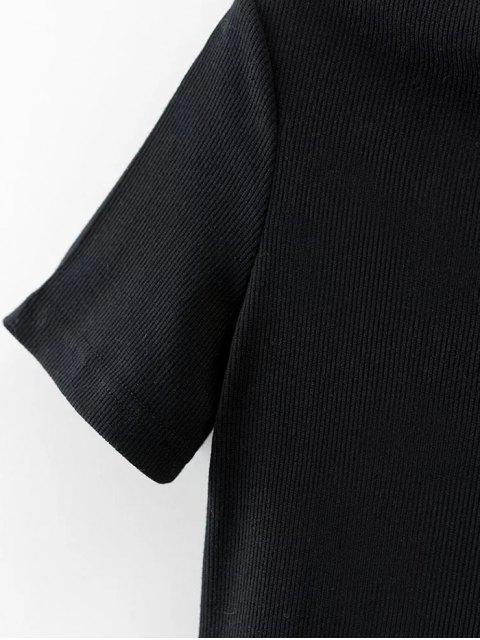 shops Slash Neck Short Sleeve Cotton T-Shirt - BLACK M Mobile