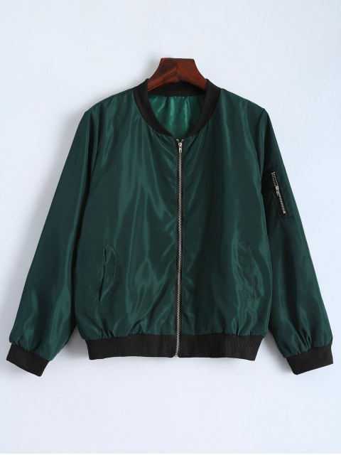 fashion Zip Detail Bomber Jacket - GREEN XL Mobile