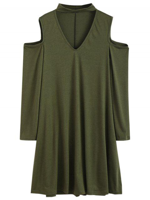 outfit Cutout Shoulder Choker Neck Swing Dress - ARMY GREEN M Mobile