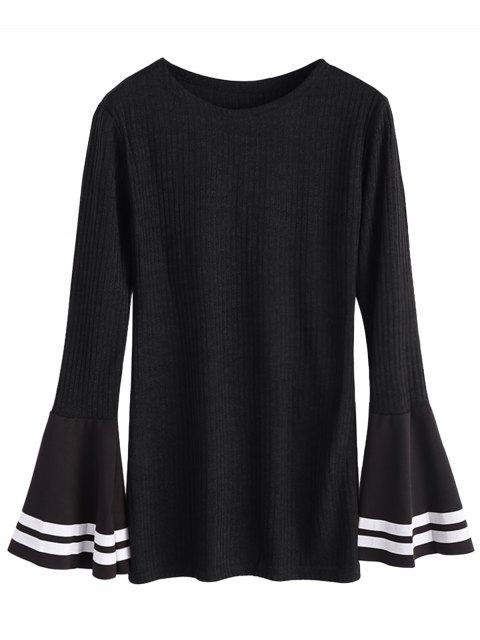 unique Contrasting Bell Sleeve Layering Top - BLACK L Mobile