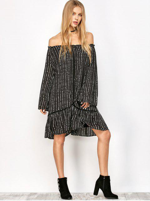 fashion Printed Off Shoulder Tunic Dress - BLACK L Mobile