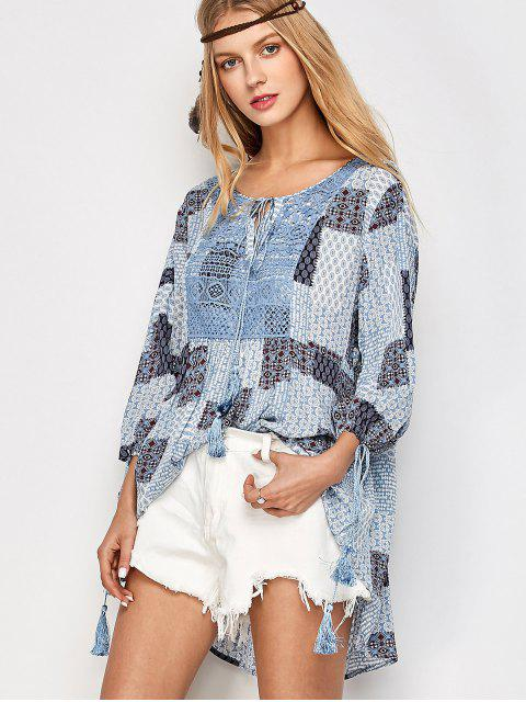 chic Tassel String Patchwork Print Tunic Top - MULTICOLOR L Mobile