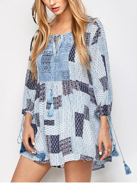unique Tassel String Patchwork Print Tunic Top - MULTICOLOR S Mobile
