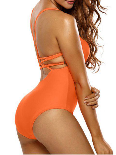latest Strappy Scoop Swimsuit - ORANGE M Mobile