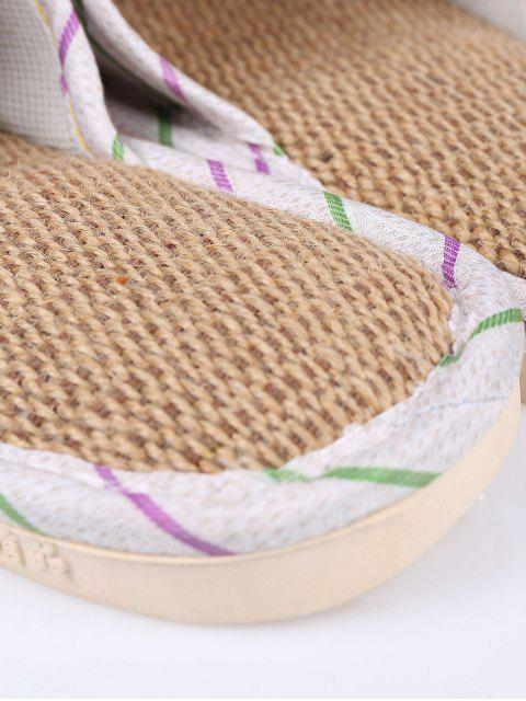 new Insect Striped Jute Panel House Slippers - GREEN SIZE(38-39) Mobile