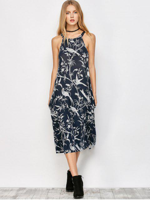 sale Bohemian Printed Dress with Pockets - CADETBLUE L Mobile