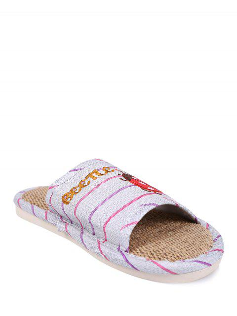 outfit Insect Striped Jute Panel House Slippers - PURPLE SIZE(38-39) Mobile