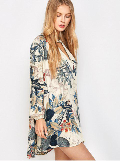 outfit Plant Print Choker Long Sleeve Tunic Dress - MULTICOLOR S Mobile