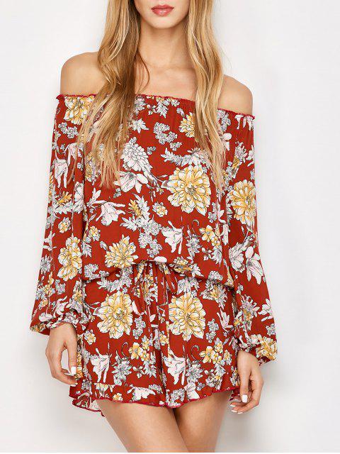 trendy Bohemian Off Shoulder Floral Romper - FLORAL S Mobile