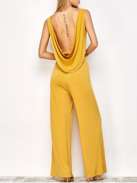 outfit Belted Backless Jumpsuit - YELLOW L Mobile