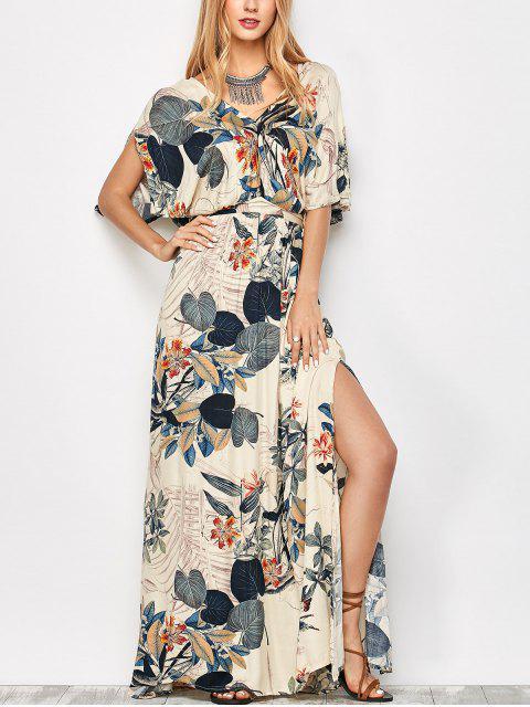 online Maxi Plant Print Slit Blouson Dress - OFF-WHITE S Mobile