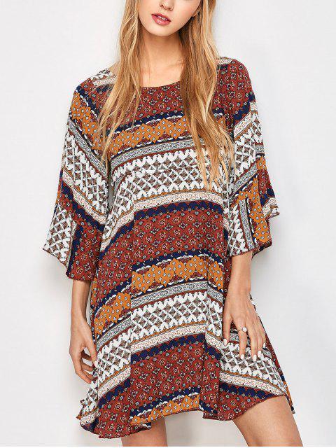 affordable Criss Cross Tribal Print Kimono Dress - MULTICOLOR L Mobile