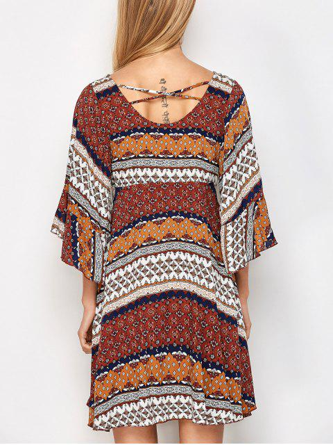buy Criss Cross Tribal Print Kimono Dress - MULTICOLOR M Mobile
