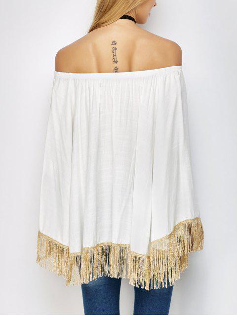 shop Off The Shoulder Fringe Oversized Blouse - WHITE ONE SIZE Mobile