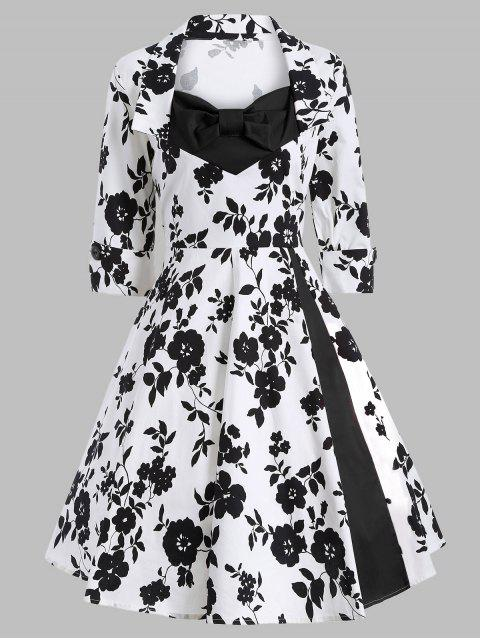 latest Printed Vintage Swing Dress - WHITE AND BLACK L Mobile
