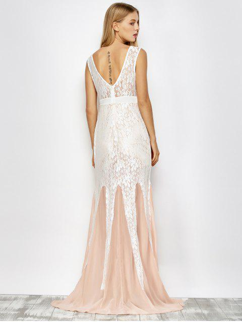 womens Chiffon Lace Maxi Mermaid Prom Dress - PINK AND WHITE M Mobile