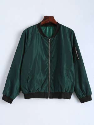 Zip Detail Bomber Jacket - Green M