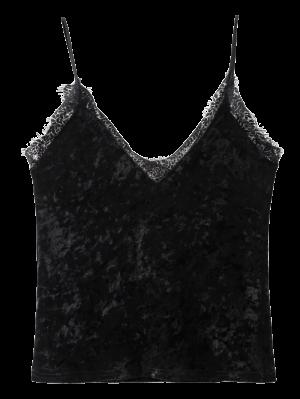 El Ajuste Del Cordón De Terciopelo Arrugado Cami - Negro S
