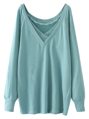 Eyelash Lace Long Pullover Sweatshirt - Light Green L