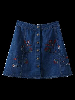 Denim Floral Embroidered A-Line Skirt - Blue M