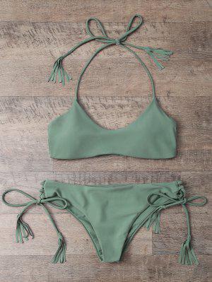 Tasselled Halter Bikini Set - Army Green S